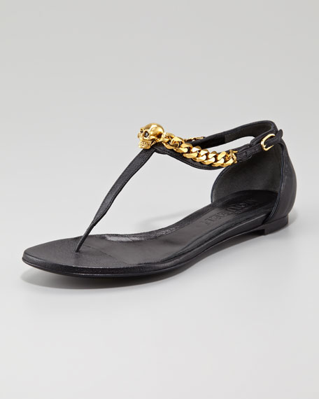 Skull-Chain Leather Thong Sandal, Black