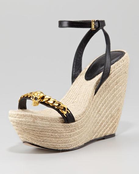 Skull-Chain Espadrille Wedge Sandal