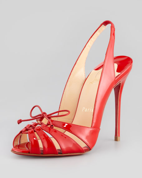 Christian Louboutin Corsetica Patent Leather/PVC Slingback Red ...