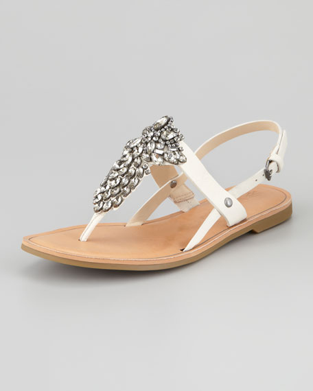 Avy Jewel Thong Slingback Sandal, Light Cream
