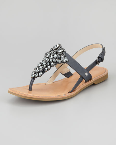 Avy Jewel Thong Slingback Sandal, Dark Navy