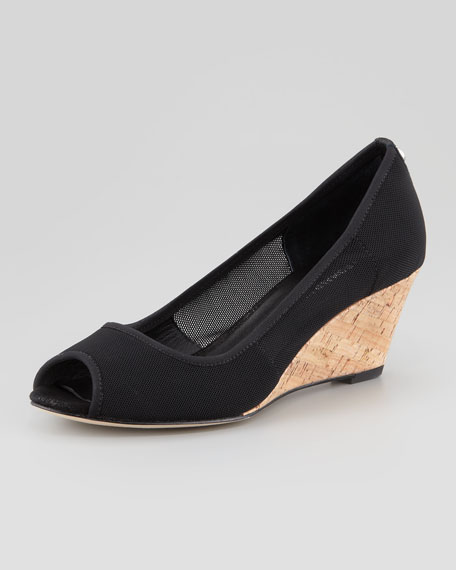 Molly Stretch-Mesh Low-Cork Wedge, Black