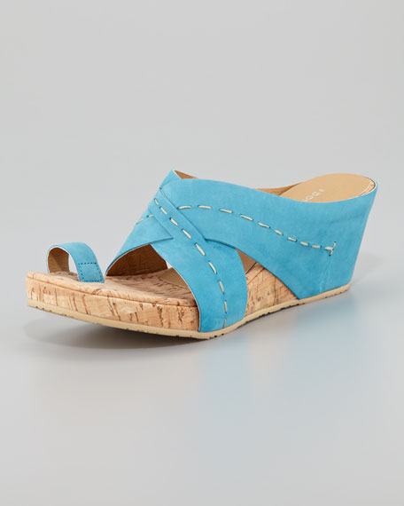 Gilana Wrapped Nubuck Cork Wedge, Turquoise