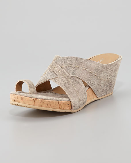 Gilana Wrapped Nubuck Cork Wedge, Pewter
