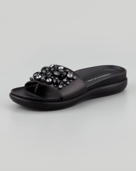 Holly Crystal-Beaded Thong Slide, Black/Clear