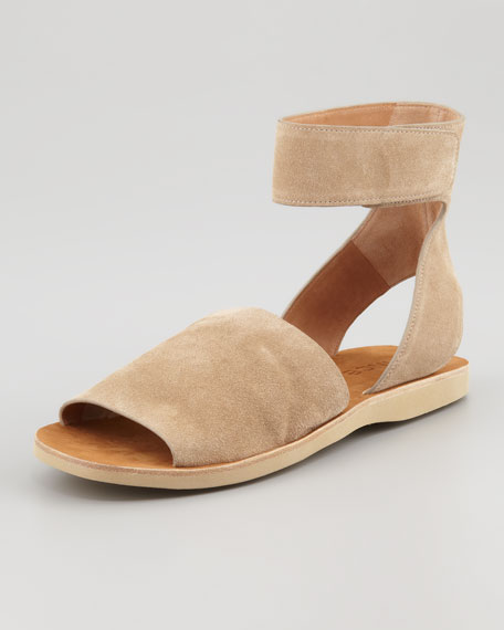 Sadie Suede Ankle-Strap Flat Sandal, Taupe