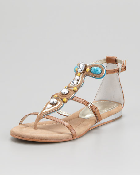 Bryce Jeweled T-Strap Sandal, Sand