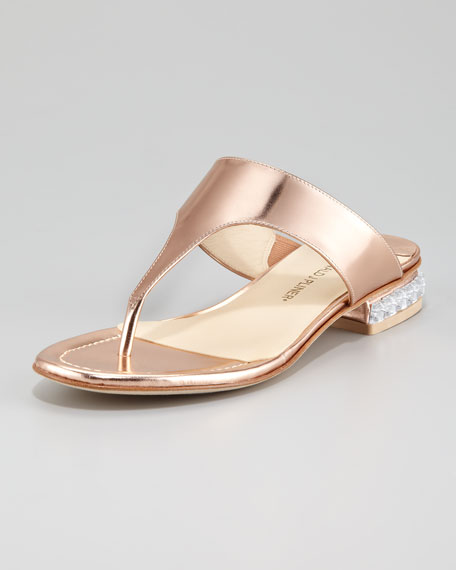 Connie Jewel-Heel Thong Sandal, Rose Gold