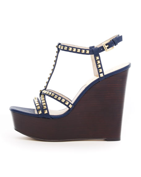 Alexi Studded T-Strap Wedge Sandal