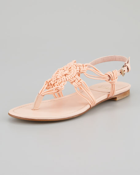Alfresco Corded Flat Thong Sandal, Peach