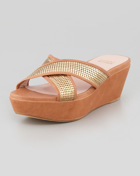 Extrovert Chain-Maille Platform Slide Sandal, Dark Gold