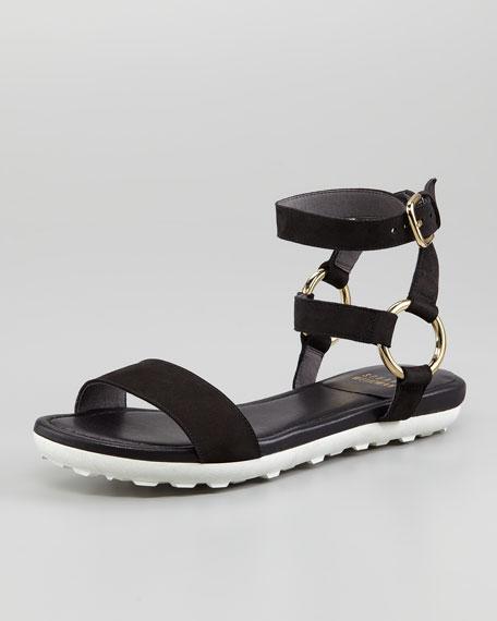 Ringo Ankle-Strap Suede Flat Sandal, Black