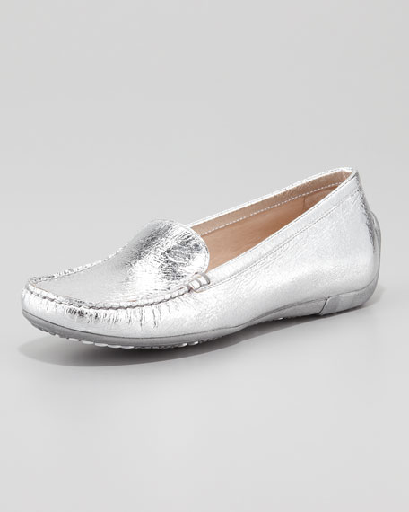 Mach 1 Metallic Leather Driver Moccasin, Silver