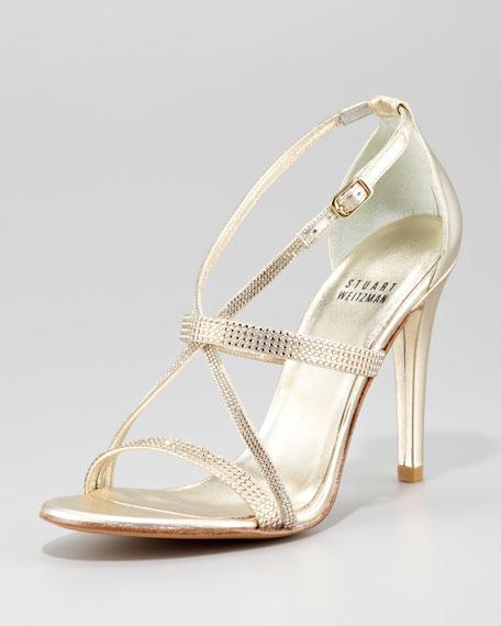 Surreal Jewel-Detailed Crisscross Sandal, Gold