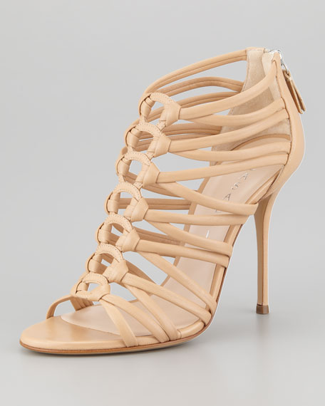 Leather Cage Strappy Bootie