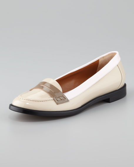 Colorblock Patent Leather Penny Loafer, Beige