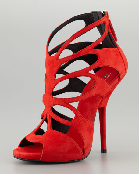 Giuseppe Zanotti Butterfly Cutout Suede Sandal, Red