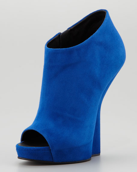 Open-Toe Suede Fin Wedge Ankle Boot