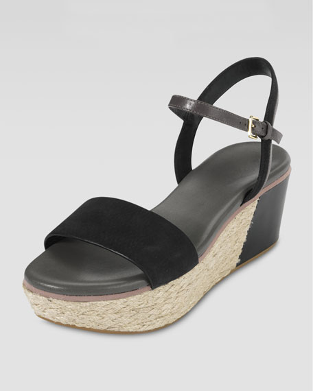 Arden Nubuck Wedge Sandal, Black