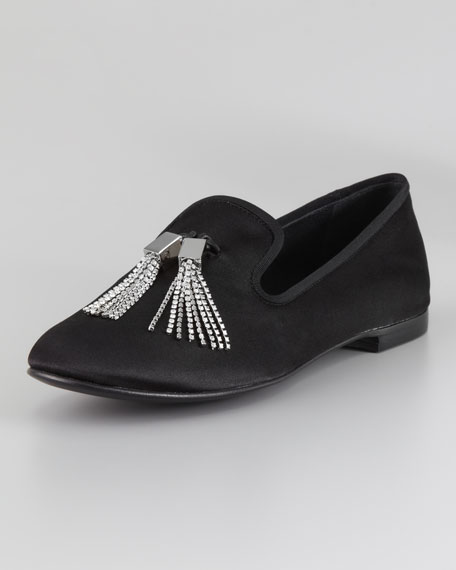 Satin Tassel Loafer, Black