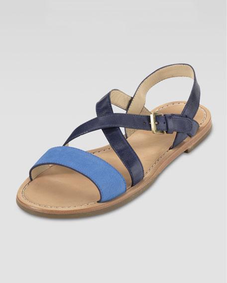 Minetta Flat Sandal, Blue Topaz/Blazer