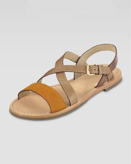 Minetta Flat Sandal, Blue Citrine/Sandstone