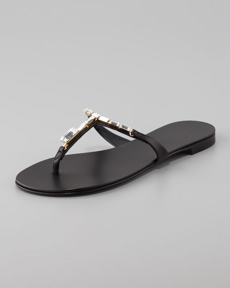 Jewel Thong Slide Sandal, Black