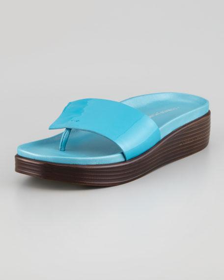 Patent-Strap Slide Thong Sandal, Turquoise