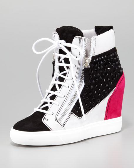 Crystal Colorblock Wedge Sneaker, Black/Pink/White