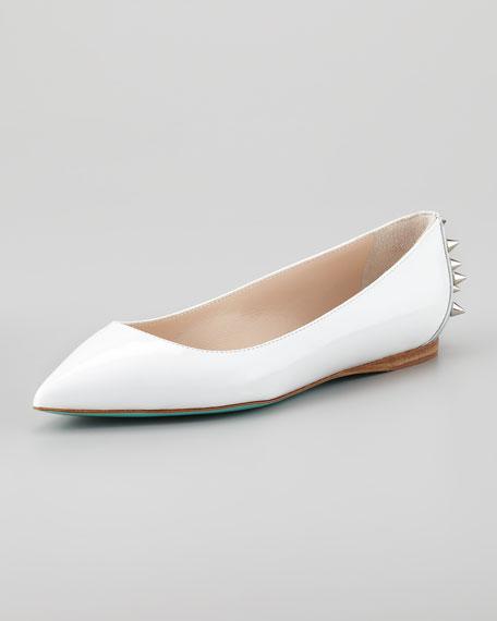 Boca Spiked Ballerina Flat, White