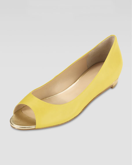 Astoria Peep-Toe Ballerina Flat, Sunlight Yellow