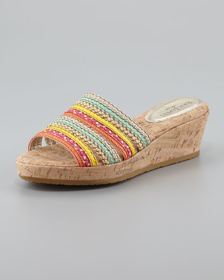 Squishee Braided Raffia Slide Sandal, Tropic Mix