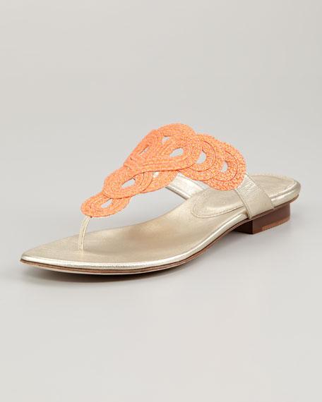 Yanna Braided Flat Thong Sandal, Tangerine