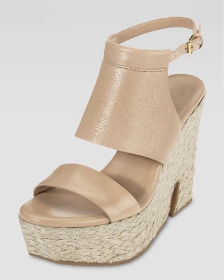 Arden Covered-Vamp High Wedge Sandal, Sandstone