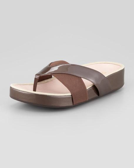 Argyle Patent Thong Sandal, Taupe