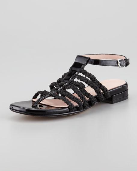 Italia Stretch Braided Ankle-Strap Sandal, Black