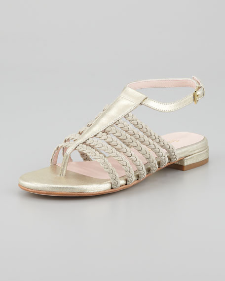Italia Stretch Braided Ankle-Strap Sandal, Soft Gold