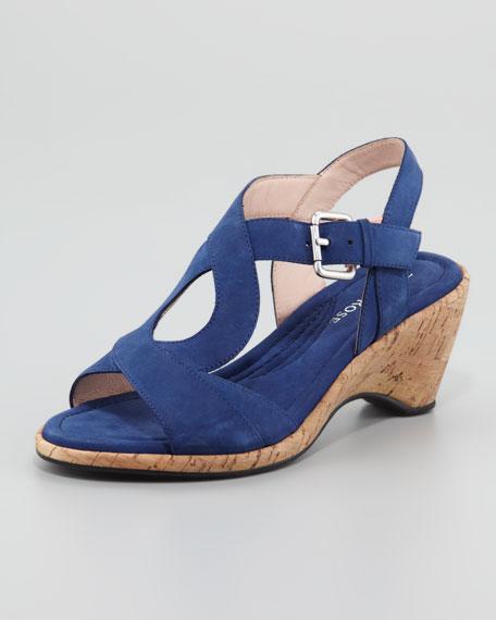 Marianna Cork Slingback Wedge Sandal, Blue