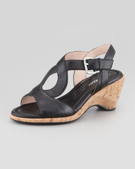 Marianna Cork Slingback Wedge Sandal, Black