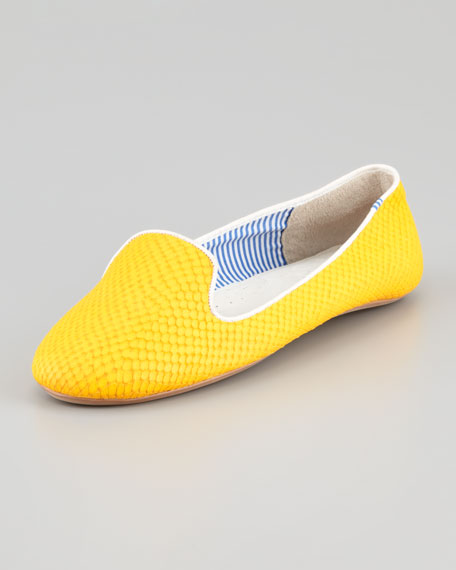Lizette Python-Embossed Slip-On Loafer, Yellow
