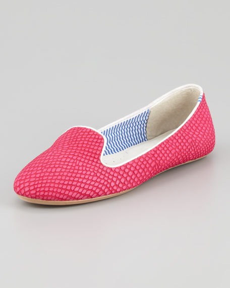 Lizette Python-Embossed Slip-On Loafer, Pink