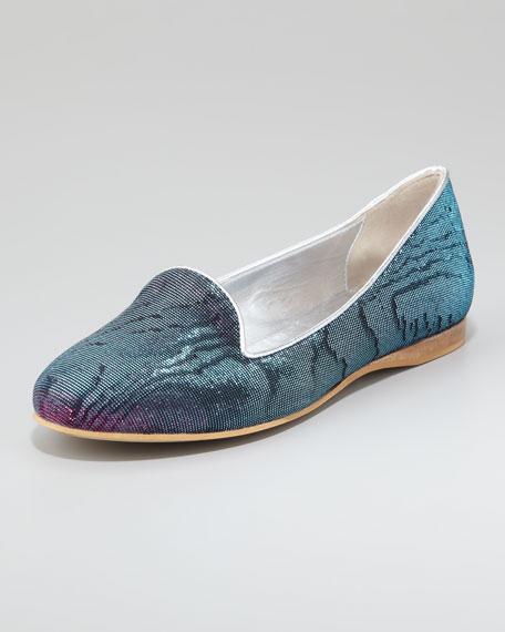 ReeRee Damask Hologram Smoking Slipper, Blue/Pink