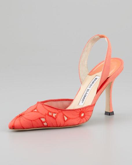 Carolyne Eyelet High-Heel Halter, Coral