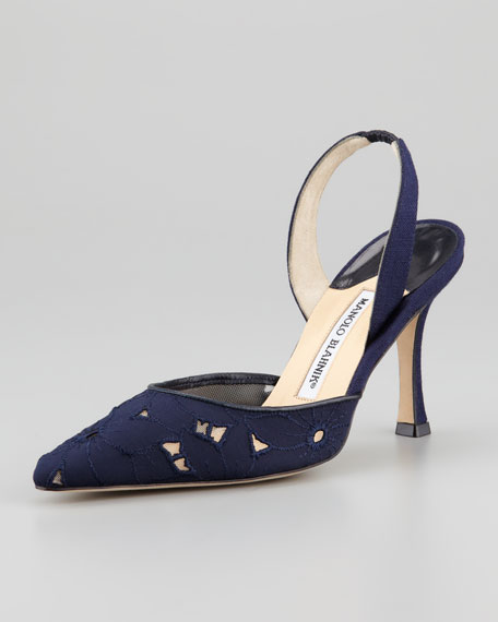 Carolyne Eyelet High-Heel Halter, Navy