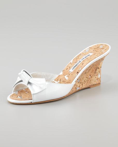 Liss Bow Slide Cork Wedge, White