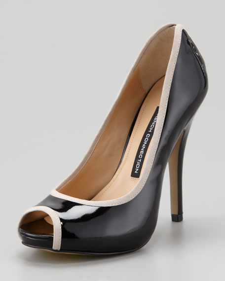 Deana Peep-Toe Grossgrain Pump, Black