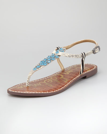 Beaded Thong Sandal, Tan and Blue