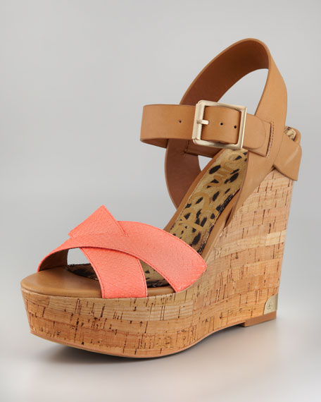 Sasha Snake Leather Wedge Sandal
