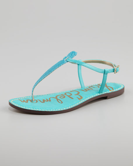Gigi Snake-Print Leather Sandal, Turquoise