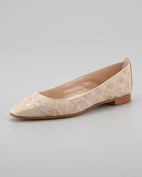 Giunglaca Quilted Cork Cap-Toe Ballerina Flat